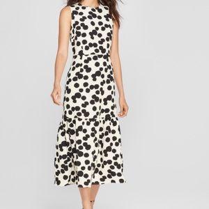 Polka dot sleeveless ruffle midi dress